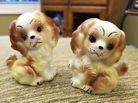 """Japan Vintage SPANIEL PUPPY DOG SALT & PEPPER SHAKER SET 3.25"""" Vtg HP"""