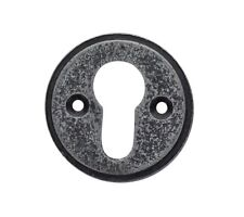 Round Pewter Euro Escutcheon Key Hole