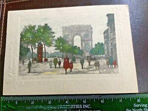Fine Jules Leray Signed New Year's Card Etching-Paris Arc de Triomphe