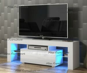 Modern TV Unit Cabinet TV Stand cupboard Matt Body & High Gloss Doors LED Light