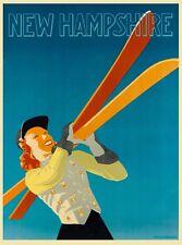 New Hampshire Ski Girl United States Vintage Travel Advertisement Art Poster