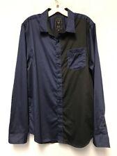 "GUESS Western Shirt Men's Large L ""Slim Fit"" Navy/Black Long Sleeve Cotton NEW"