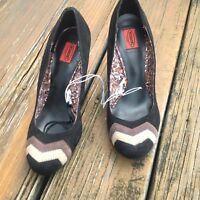 Missoni For Target Chevron Pumps Heels Sz 7 Brown Black Tan Womens Shoes NEW