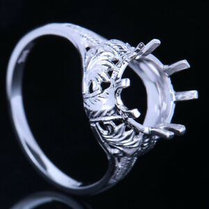 New,Antique Jewelry Fine Semi Mount Setting 8mm Round Sterling Silver 925 Ring