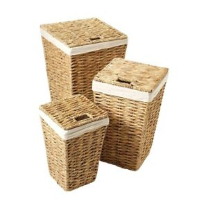 Water Hyacinth Lidded Laundry Storage Baskets 3 Sizes Inner Liner Toys Laundry