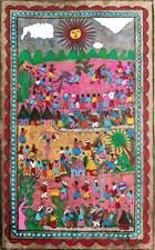 "15 1/2 X 23"" Mexican Folk Art Amate Bark Painting Aztec Cock Fight"