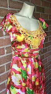 NWT $264 Beth Bowley Fit and Flare Silk Floral Embroidered Party Day Dress 4