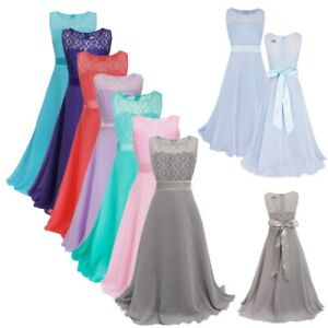 Flower Girl Princess Dress Bridesmaid Gown Formal Party Pageant Wedding Kid Maxi