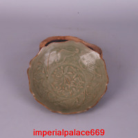old China antique Song dynasty qing glaze carve fish Lotus pattern Small Dish