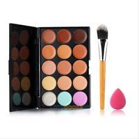 15 Colors Contour Face Cream Makeup Concealer Palette + Powder Brush Sponge Puff