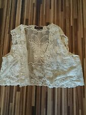 lovely ladies Jo Thirty CREAM Vintage Lace Cropped Waistcoat / jacket size 10-12