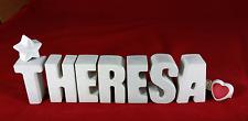 Beton, Steinguss Buchstaben 3D Deko Namen THERESA als Geschenk verpackt!