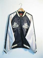 Men's SUKAJAN Japanese Style Dragon Embroidered Souvenir Satin Bomber Jacket | L
