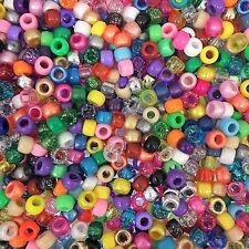 200 x Random CraZy Mix 9x6mm Pony Beads, Loom Band Beads, Dummy Clips Kids Craft