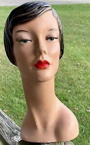 vintage mannequin Female Head She Is Approx 15 Inches Tall Some Paint Loss*OLD*