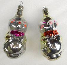 2 Vintage Silver Glass Ukrainian Weihnachten Ornament Christmas Tree Pigs