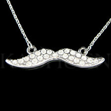 Fun Mustache made with Swarovski Crystal Bridal Wedding Party Favor Necklace New