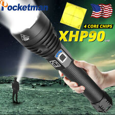 200000lm XHP70 XHP90 Tactical LED Flashlight Torch USB Rechargeable Lamp Zoom
