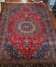 Persian Kashan Hand-Knotted Oriental Wool 6.5 X 9.8 Area Rug