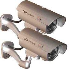 2 Dummy Security Camera Fake Infrared LED Blink Flashing Light CCTV Surveillance
