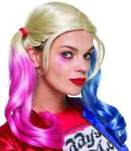 Harley Quinn Wig Suicide Squad Fancy Dress Up Halloween Adult Costume Accessory