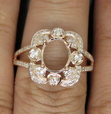 Natural Vs Diamond Semi Mount Ring Oval Cut 8x10mm Solid 18Kt Rose Gold
