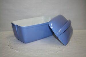 3 Pc Art Deco The Hall China Co Montgomery Ward Blue Porcelain Refrigerator Dish
