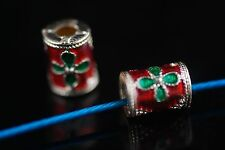 10Pcs Enamel Thailand Style Craft Beads Tube Loose Spacer Jewelery Finding 9x6mm