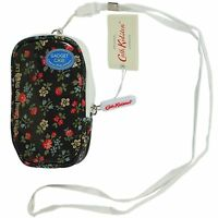 Cath Kidston Gadget Case + lanyard Bath Flowers (charcoal) 100% authentic BNWT
