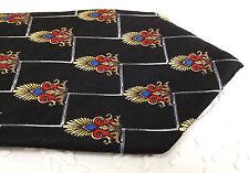 Tootal pure silk tie Vintage 1980s Textured black silk Bright exotic pattern