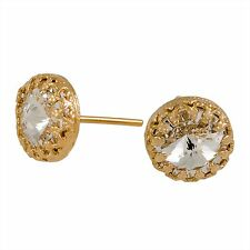 14k Yellow Gold Filled SWAROVSKI CRYSTAL stud earrings free shipping