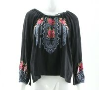 NWT $148 Johnny Was Black Floral Embroidered Davis Peasant Blouse Small