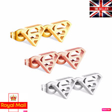 UK Genuine 316L Stainless Steel Superman New Stud Earrings Pair Ladies Gift