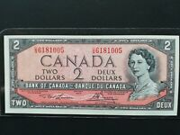 Canadian Paper Money -- Bank of Canada 1954 U/G6181005 $2 Bill