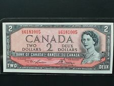 Canadian Paper Money -- Bank of Canada 1954 U/G6181005 $2 Large Bill