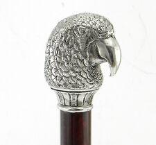 bastone da passeggio elegante in legno e metallo color argento,solido e robusto