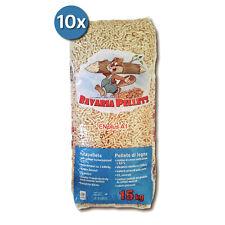 10 Sacchi da 15 kg Baho Bavaria Pellets di puro abete certificato EN PLUS A1