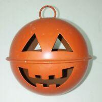 Jack O Lantern  Halloween Bell Orange Metal Pumpkin Cut Out Holiday Decor