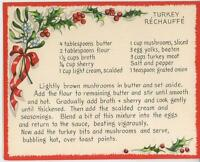 VINTAGE TURKEY RECHAUFFE MUSHROOMS RECIPE 1 WINTER SNOW GARDEN SQUIRREL BEE CARD