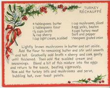 VINTAGE TURKEY RECHAUFFE MUSHROOMS RECIPE 1 SHEEP SNOW HORSE SLEIGH TREE CARD