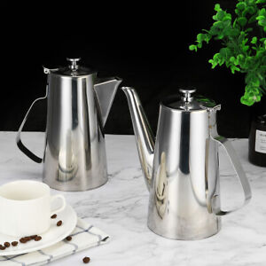 Large Stainless Steel Metal Teapot Tea Pot Cafe Coffee Drink Kettle Hom