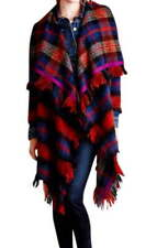 Anthropologie Tartan Blanket Coat XSmall / Small Fringed Drapey Wool Blend NWT