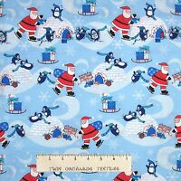 Christmas Fabric - Santa Penguin Igloo Scene Light Blue - Cotton YARD