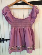 Atmosphere Ladies Top Lilac + Floral Embroidery Rouched Bodice - Size 14 - BNWT