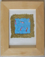 Handmade Contemporary Gold & Vivid Turquoise Fish Mounted & Framed Wall Hanging