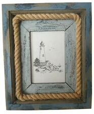 "Chunky Wooden Coast Photo Frame Blue Distressed Nautical Freestanding 3.5x5"""