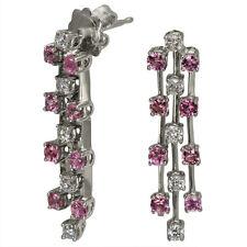 Diamond Earrings Dangling Earrings Pink Sapphire Earrings In 14k White Gold