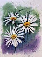 Sheerwatercolors Original Painting Daisies Flowers Botanical Floral Decor Garden