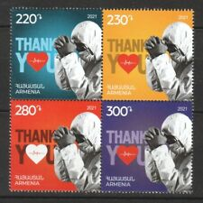ARMENIA 2021 FIGHT VIRUS 19 THANKS TO HEALTHCARE WORKERS BLOCK OF 4 STAMPS MINT