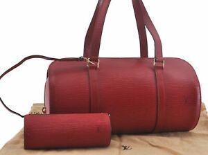 Authentic Louis Vuitton Epi Soufflot Hand Bag Red LV C5922